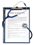 Medical directive document with stethoscope Stock Images