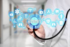 Medical Doctor and Alzheimer`s sign in Medical network connectio stock photos