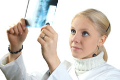 Medical doctor analysing x-ray photograph Royalty Free Stock Photos