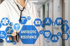 Medical Doctor and ANTIBIOTIC RESISTANCE words in Medical netwo. Rk connection on the virtual screen on hospital background.Technology and medicine concept royalty free stock photo