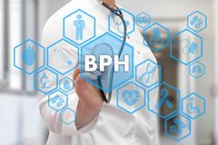 Medical Doctor and BPH, Benign Prostatic Hyperplasia words in Me. Dical network connection on the virtual screen on hospital background royalty free illustration