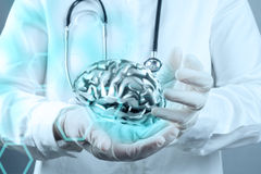Medical  doctor with brain3d Stock Image