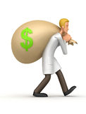 Medical doctor  carries a bag of money Royalty Free Stock Photography