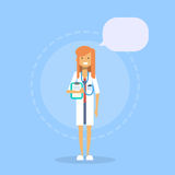 Medical Doctor Clinics Hospital Female Medicine Worker Online Consultation Concept. Flat Vector Illustration Royalty Free Stock Photography