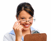 Medical doctor with clipboard Stock Image