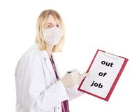 Medical doctor with clipboard: out of job. Medical doctor showing clipboard with English content: out of job Stock Image