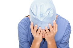 Medical doctor crying depressed Royalty Free Stock Photography