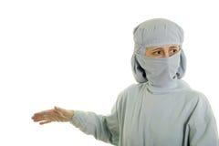 Medical Doctor Explaining. Medical doctor giving explanation; on white stock photo
