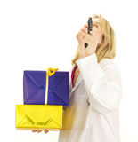 Medical doctor with gifts Royalty Free Stock Photo