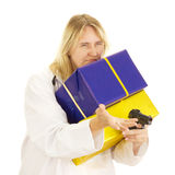 Medical doctor with gifts Royalty Free Stock Photography