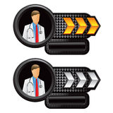 Medical doctor gold and white arrow nameplates Stock Images