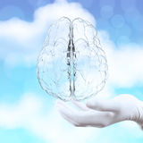 Medical doctor hand showing 3d glass human brain Royalty Free Stock Photos