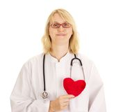 Medical doctor with heart. Medical doctor with red heart royalty free stock image