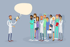 Medical Doctor Hold Megaphone Loudspeaker Group Team White Chat Bubble Copy Space. Vector Illustration Stock Photo