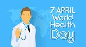 Medical Doctor Hold Stethoscope Over World Map Health Day Royalty Free Stock Image