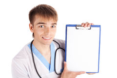 Medical doctor holding clipboard isolated on white Royalty Free Stock Photo