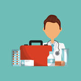 Medical doctor icon. First aid kit and medical doctor cartoon icon over blue background. colorful design. vector illustration Royalty Free Stock Photos