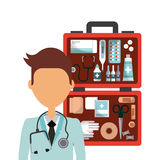 Medical doctor icon. First aid kit and medical doctor cartoon icon over white background. colorful design. vector illustration Stock Photo