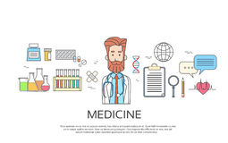 Medical Doctor Icon Male Portrait Medicine Banner Thin Line Stock Photo