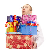 Medical doctor with a lot of gifts. A medical doctor with a lot of gifts Royalty Free Stock Photography
