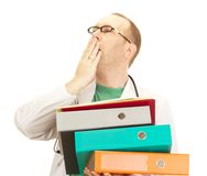 Medical doctor with a lot of work Royalty Free Stock Photography