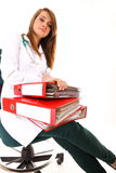 Medical doctor with a lot of work isolated Stock Photo