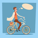 Medical Doctor Man Practitioner Ride Bicycle First Aid. Flat Design Vector Illustration Royalty Free Stock Photos