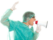 Medical doctor with megaphone Stock Photography