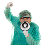 Medical doctor with megaphone Royalty Free Stock Image