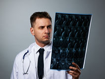 Medical doctor with MRI spinal scan Royalty Free Stock Images