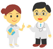 Medical doctor and nurse vector illustration