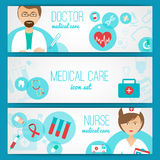 Medical. Doctor and nurse with first aid kit and healthcare symbols icons banners set abstract  illustration Royalty Free Stock Photo
