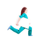 Medical doctor or nurse jumping with whiteboard Royalty Free Stock Photography