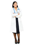 Medical doctor nurse mixed race isolated on white background Royalty Free Stock Image