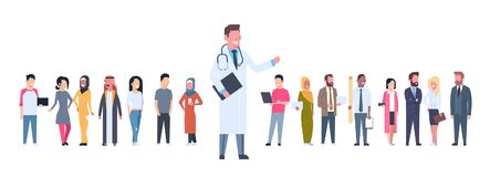 Medical Doctor Over Group Of Patients On White Background Horizontal Banner. Flat Vector Illustration stock illustration