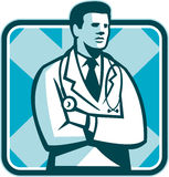 Medical Doctor Physician Stethoscope Standing Retro Stock Images