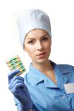 Medical doctor with pills Stock Image