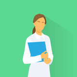 Medical Doctor Profile Icon Female with Folder Stock Photography