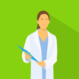 Medical Doctor Profile Icon Female with Folder Royalty Free Stock Photo
