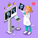 Medical Doctor Radiology Icon Isometric People Cartoon. Medical doctor at hospital computer radiology icon 3D flat isometric people emotions in isometric cartoon vector illustration