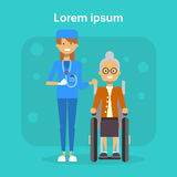 Medical Doctor With Senior Woman On Wheel Chair Happy Old Female Disabled Smiling Sit On Wheelchair Disability Concept Royalty Free Stock Photo