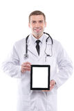 Medical doctor showing digital tablet pc with blank screen. Stock Photography