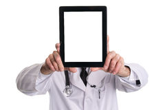 Medical doctor showing digital tablet pc with blank screen. Stock Image