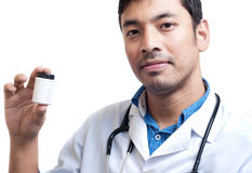 Medical Doctor Showing Pill Container Stock Image
