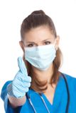 Medical doctor shows thumb Royalty Free Stock Images