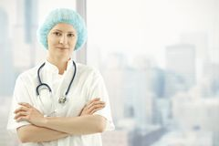 Medical doctor in skyscraper office Royalty Free Stock Photos
