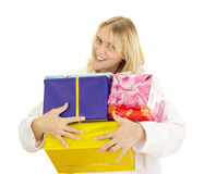 Medical doctor with some gifts. Medical doctor with some colourful gifts Royalty Free Stock Photo