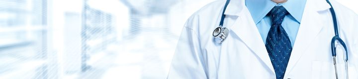 Medical doctor with stethoscope. Medical doctor pharmacist hands. Health care clinic background stock photo