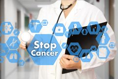 Medical Doctor with stethoscope and Stop Cancer sign in Medical royalty free stock photos