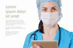 Medical doctor with stethoscope and tablet isolated on white background. Nurse with surgical mask, uniform and hat. Medical doctor with stethoscope and tablet stock image
